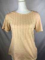 Apart Impressions Womens Size L Beige Beaded Short Sleeve Cotton Blend