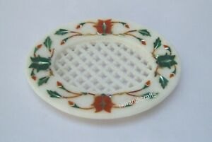 5 x 4 Inches White Marble Sink Accessories with Multi Gemstones Soap Holder