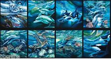 8 BEAUTIFUL SEALIFE PANELS DOLPHIN WHALES FOR QUILTS HOME DECOR & PROJECTS #1
