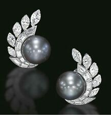 14 ct 925 Sterling Silver inspired Black Pearl Baguette Studs Party Earrings Cz