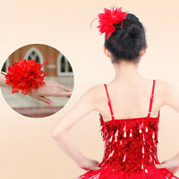 Women Hair Accessory Party Wedding Fascinator Feather Flower Brooch IJ