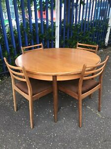 G Plan Dining Table and Chairs Retro Vintage Mid Century Danish Style