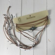 Accessorize Boho Feather Choker Necklace BNWT Brown Layered Festival Holiday