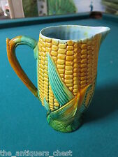 "English Majolica pitcher 7"" decorated with corn and husks and blue interior[*]"
