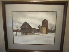 BARN AND SILO.  ORIGINAL  W/C.  BY. JOAN MUNSON