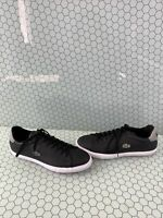 Lacoste GRAD VULC Black Leather Lace Up Low Top Fashion Sneakers Men's Size 12