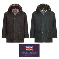 Wax Jacket Waterproof Padded Quilted Waxed Cotton Country Coat Hunting Riding