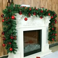 2.7M Christmas Garland Fireplace Wreath Xmas Pre Lit Rattan Pine DIY Home Decor