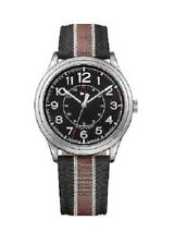 NEW TOMMY HILFIGER SILVER TONE,BLACK+BROWN STRIPED CANVAS BAND WATCH # 1791330