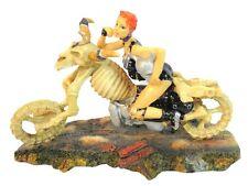 Sexy Biker Girl Figurine Riding Skeleton Motorcycle Chopper Nice!!