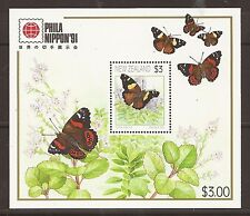 New Zealand 1991 Phila Nippon butterfly m/s MNH