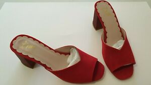 Miss L Fire Red Real Suede Block Heel Mules Vintage Shoes Size 4 / 37 BNWB