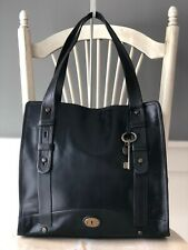 FOSSIL Black Leather North South Vintage Reissue Extra Large Work Satchel Tote