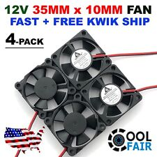 35mm X 10mm New Brushless Case Fan 12V 5.3CFM 2pin PC CPU Cooling 3510 4-Pack