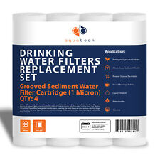 "Grooved Sediment Water Filter 1 Micron 10"" x 2.5"" size 4 PACK by Aquaboon"