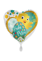 Folienballon Frohe Ostern Küken Herz Ø 45cm Luft Helium Ballon Ballon Deko
