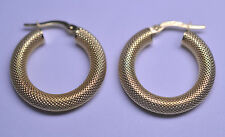 "UNO A ERRE 14K YELLOW GOLD 7/8"" TEXTURED TUBULAR HOOP PIERCED EARRINGS ITALY"