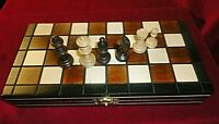 "WOOD CHESS SET - 9"" FOLDING TRAVEL MAGNETIC CHESS - 1 7/8"" KING"