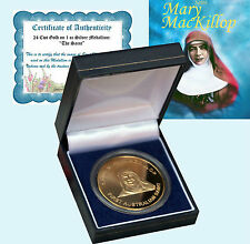 Mother's Day Pure Gold on 1oz Silver Proof Medaillion Coin Mary MacKillop