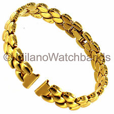 10mm Speidel Gold Tone Egg Shaped Links Stainless Ladies Clasp Watch Band 680/17