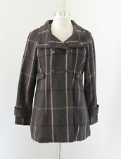 Banana Republic Womens Brown Plaid Peacoat Jacket Coat Wool Size PM MP