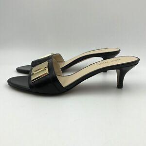Nine West Womens Shoes SIZE 8 M Black Leather Pump Heels Gold Buckle Open Toe