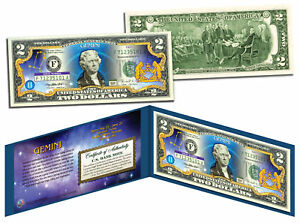GEMINI * Horoscope Zodiac * Genuine Legal Tender Colorized U.S. $2 Bill