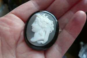 Superb Victorian Carved Shell Cameo and Whitby Jet Brooch