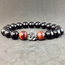 MEN'S BLACK ONYX RED TiGER EYE GEMSTONE STERLING SILVER 925 DRAGON BEAD BRACELET