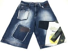 Raw Blue Skater Urban Baggy Jean SHORTS Mens Classisms Embroidered Sz Men's 34