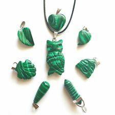 Malachite Stone Quartz Pendant Necklace Anxiety Openness Love Transformation