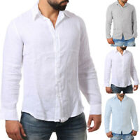 Men's Solid Plus Size Linen Cotton Long Sleeve T Shirts Casual Beach Tops Tee