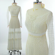 Antique Victorian Edwardian tea gown sheer net dress Antique wedding bridal S