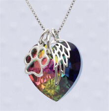 RAINBOW SILVER PAW WING HEART NECKLACE Rhinestone Love Pendant Chain Jewelry