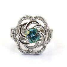 0.90 Ct Certified, Designer Blue Diamond Women's Ring with Accents In 925 Silver