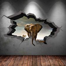 FULL COLOUR ELEPHANT SAFARI CAVE CRACKED 3D WALL ART STICKER DECAL MURAL 3