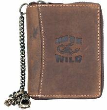 Men's natural leather metal zip-around wallet with scorpion,metal chain to hang.