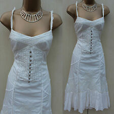 Karen Millen Ivory White Embroidered Lace Trim Summer Holiday Gypsy Dress 8 UK