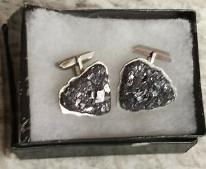 Vintage Sterling Silver Cufflinks with Unknown Top Material...Poss Raw Silver?
