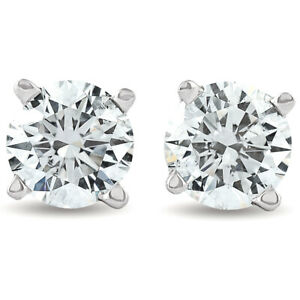 F/SI 1.25 ct Solitaire Diamond Stud 4 Prong Earrings 14K White Gold Enhanced