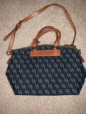 Dooney & Bourke Purse Canvas Monogram Navy Brown Crossbody Bag Leather