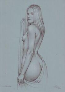 original drawing A3 476MS art samovar pastel Realism female nude Signed 2021