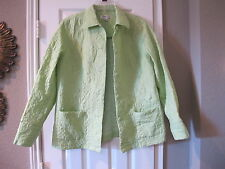 Coldwater Creek Jacket PL - Quilted - 100% Silk - Lime Green - Light Weight