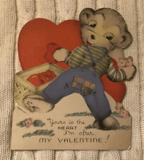 "Vintage 1930's Mechanical Valentine ~ Bear Picking Up Hearts ~ 6"" Tall ~ Great"