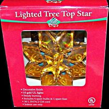 Yule Rite Acrylic Faux Stained Glass Lighted Gold Christmas Tree Top Star Topper