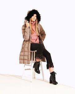 Charcoal Fashion Women's Mid Stone Long Length Winter Puffer Coat (03WJ19 TULIP)