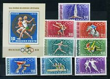 HUNGARY 1968 SUMMER OLYMPIC GAMES MEXICO SET OF 8 STAMPS & S/S  MNH