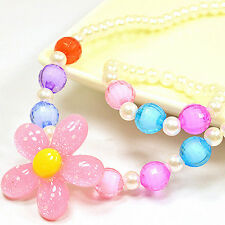 HK- Children Kids Girls Handmade Beads Necklace Bracelet Ring Jewelry Set Romant