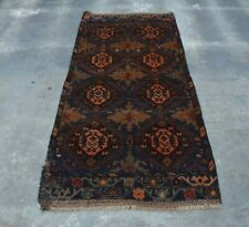 b2577 vintage Afghan tribal hand knotted rug 100% wool 2'11 x 6'3 ft.