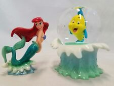 Little Mermaid Flounder Mini Snowglobe and Ariel Figure Set Rare Disney Store